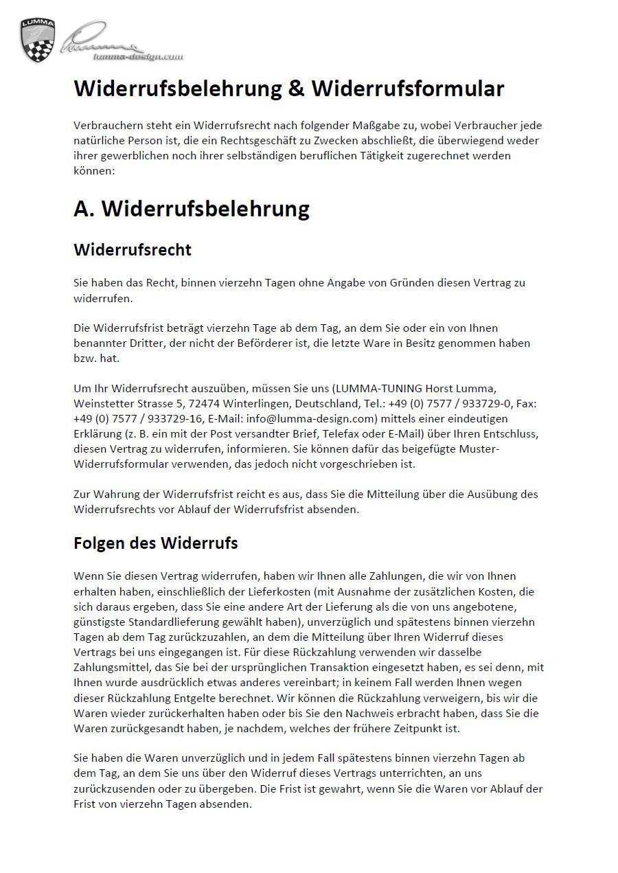lumma design - Widerrufsformular Muster